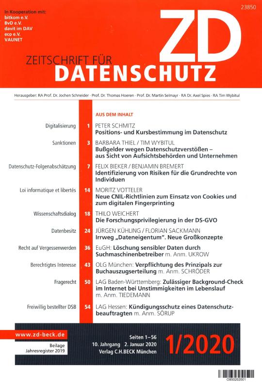 Zeitschrift für Datenschutz